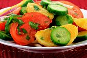 Close-up View Of Mixed Fruits And Vegetables Salad.