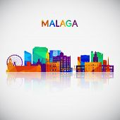 Malaga Skyline Silhouette In Colorful Geometric Style. Symbol For Your Design. Vector Illustration. poster