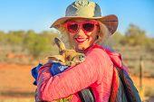 Tourist Woman Holding Kangaroo Joey At Sunset In Australian Outback. Interacting With Cute Kangaroo  poster