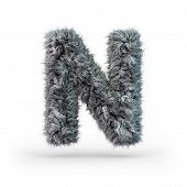 Uppercase Fluffy And Furry Gray Font. Letter N. 3d Rendering poster