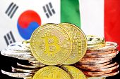Concept For Investors In Cryptocurrency And Blockchain Technology In The South Korea And Italy. Bitc poster