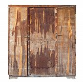 Old Vintage Broken Cupboard Isolated, White Background poster