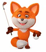 3d Illustration Fun Furry Forest Animal Athlete/3d Illustration Funny Little Fox Play Golf poster