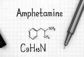Chemical Formula Of Amphetamine With Black Pen. Close-up. poster