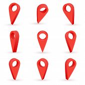 Shiny Red Realistic Map Pointers. Map Pointer 3d Pin. Location Symbols Set Isolated On White Backgro poster