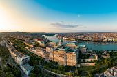 Drone photo of buda castle and danube with chain bridge Budapest, Hungary. poster