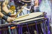 Closeup View Of Mans Hands, Drums And Drumsticks. poster