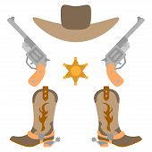 Vector Illustration Color Icon Set Simplified Leather Cowboy Boots And Hat, Sheriff Star, Revolvers. poster