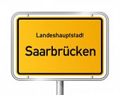 City limit sign Saarbrucken against white background - capital of the federal state Saarland, Germany