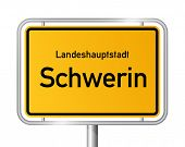 City limit sign SCHWERIN against white background - capital of the federal state Western Pomerania - Mecklenburg Vorpommern, Germany