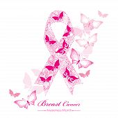 Vector Drawing Of Lace Pink Ribbon Isolated On The Background With Dotted Butterflies. Elegance Desi poster