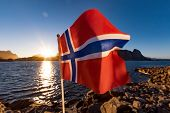 Norway Flag. Beautiful Nature Norway natural landscape. poster