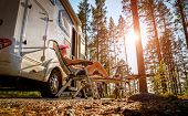 Family vacation travel RV, holiday trip in motorhome, Caravan car Vacation. poster