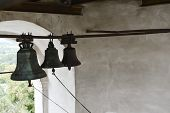 Wind-bell With Metal Fish At The Traditional Temple. Wind-shaking Wind Chime. Bells In The Temple. B poster