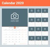 Calendar For 2020. Wall Calendar Planner With Place For Photo. Vector Design Print Template. Week St poster