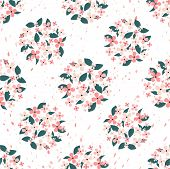 Pink Flowers And Green Leaves Gathered In A Circle Seamless Pattern With Petals In The Background. S poster