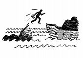 Hand Drawn Felt Tip Pen Of A Businessman Jumping Off A Sinking Ship. Concept For Bankruptcy, Cowardi poster