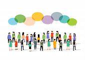 People Group Person Community Business Flat Social Talk Bubble. Teamwork Concept Community poster