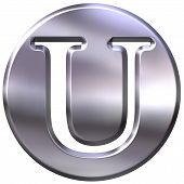 3D Silver Letter U