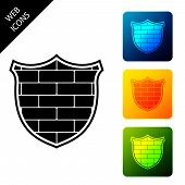 Shield With Cyber Security Brick Wall Icon Isolated On White Background. Data Protection Symbol. Fir poster