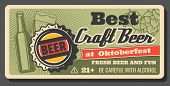 Oktoberfest Beer And Brewery Festival, Handmade Craft Beer Vintage Poster. Vector Draught Craft Beer poster