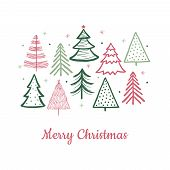 Doodle Christmas Tree Card. Doodle Fir-trees Snow Season Concept. Vector Winter Holiday Background.  poster