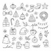 Winter Holiday Doodle Set. Sketch Christmas Gift Boxes, Santa Hats, And Fir-trees, Xmas Garland. Vec poster