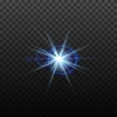Light Blue Vector Lens Flare Effect. Round Isolated Transparent Optical Design With Rays. Space Star poster
