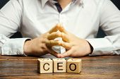 Wooden Blocks With The Word Ceo And Businessman. Chief Executive Officer. Boss, Top Management Posit poster