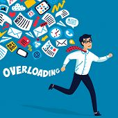 Input Overloading. Information Overload Concept. Young Man Running Away From Information Stream Purs poster