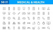 Set Of 50 Medical And Health Web Icons In Line Style. Medicine And Health Care, Rx, Infographic. Vec poster