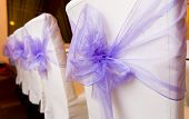 stock photo of ceremonial clothing  - White wedding chairs decorated with purple bows - JPG