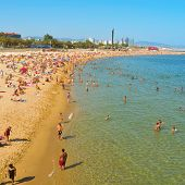 BARCELONA, SPAIN - AUGUST 16: La Nova Icaria Beach on August 16, 2011 in Barcelona, Spain. This beac