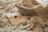 Cozy Autumn Winter Evening , Warm Woolen Socks. Woman Is Lying Feet Up On White Shaggy Blanket And R poster