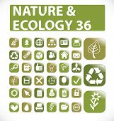 36 nature and ecology web icon - vector set