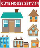 cute house set v.14 - vector easy to edit