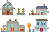4 small family houses.vector
