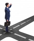 Young businessman at crossroads in uncertainty concept poster