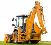 Backhoe On Green Grass