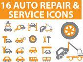 16 auto repair & service icons.#1. vector