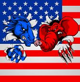 American Politics Election Concept With Animal Mascots Of The Democrat And Republican Political Part poster