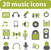 20 music icons. green series. vector