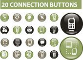 20 connection buttons. green edition. vector