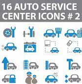 16 auto service center icons # 2. blue-grey version. vector
