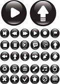 30 black media buttons. vector
