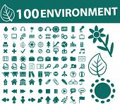 100 environment icons. vector