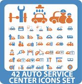 42 auto service center icons set. vector