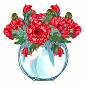 Watercolor Glass Vase With Red Flower Bouquet Inside, Hand Drawn Isolated On A White Background. Wat poster