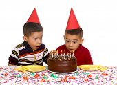 pic of birthday party  - Two young brothers ready to enjoy a birthday cake - JPG