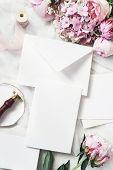 Feminine Wedding, Birthday Mock-up Scene. Blank Craft Paper Greeting Cards, Peony, Hydrangea, Roses  poster